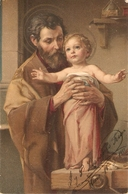 """St. Joseph With The Child"" Nice Vintage German Pstcard - Santi"