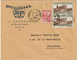 LCTN59/ALS/2B - TUNISIE LETTRE ETS TRIOMPHE TUNIS / STRASBOURG 1/10/1948 - Tunisia (1888-1955)