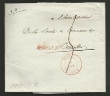 """Belgique - Précurseur - LAC De Mons à Bruxelles Du 25/04/1848 + """"Après Le Départ"""" En Rouge - 1830-1849 (Belgique Indépendante)"""