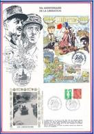 FRANCE - CARTE + ENVELOPPE 50EME ANNIVERSAIRE DE LA LIBERATION LISIEUX 23/8/1944 LES LIBERATEURS - Guerre Mondiale (Seconde)