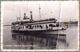 "GALATI : BATEAU / SHIP "" GRIGORE MANU "" Sur / On DANUBE - CARTE VRAIE PHOTO / REAL PHOTO POSTCARD ~ 1940 - RRR ! (ad550) - Roumanie"