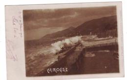 CARTOLINA POSTALE Liguria Camogli Mareggiata Sul Molo, 1904 Data Scritta A Penna Sul Margine - Pubblicitari