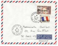 FM DRAPEAU MIXTE POLYNESIE LETTRE COVER  AVION PAPEETE RP 12.3.1969 ILE TAHITI + GRIFFE SUPERBE - Franchigia Militare (francobolli)