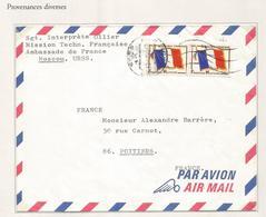 FM DRAPEAU PAIRE LETTRE CACHET CCCP RUSSE MOSCOU 1971 URSS + MENTION MISSION TECH FRANCAISE AMBASSADE DE FRANCE - Franchigia Militare (francobolli)