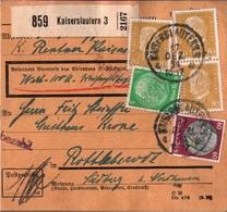 ! 1934 Paketkarte Deutsches Reich, Kaiserslautern Nach Rottleberode - Briefe U. Dokumente