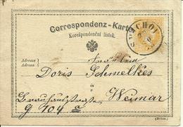 1873  Correspondenz-Karte Von Smichov (Praha) Nach Weimar - Ganzsachen