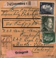 ! 1943 Paketkarte Luxembourg, Luxemburg Nach Hartha In Sachsen, R.A.D. Lager, Reichsarbeitsdienst - 1940-1944 Deutsche Besatzung