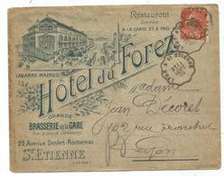 N°138 LETTRE ENTETE HOTEL DU FOREZ BRASSERIE DE LA GARE ST ETIENNE LOIRE 1908 - Marcophilie (Lettres)