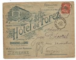 N°138 LETTRE ENTETE HOTEL DU FOREZ BRASSERIE DE LA GARE ST ETIENNE LOIRE 1908 - Storia Postale