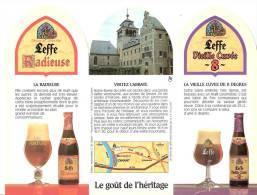 Abbaye De Leffe- Bière- Brasserie Mont St Guibert- Publicité De Table- Triptyque -Recto-Verso- 22x16,5 Cm - Andere Verzamelingen