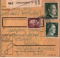 ! 1943 Paketkarte Deutsches Reich, Litzmannstadt Nach Goldeiritz, Gräfenhainichen, Lager - Germania