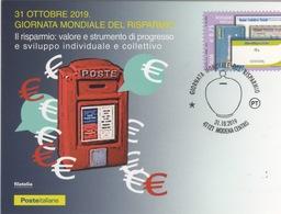 Italia 2019 Modena Giro Omnibus Giornata Mondiale Del Risparmio Annullo Cartolina Dedicata - Francobolli