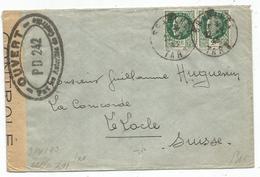 PETAIN 2FRX2 LETTRE GRAULHET 22.7.1943 POUR SUISSE CENSURE PA 242 OUVERT + CENSURE NAZI - 1941-42 Pétain