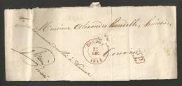 """Belgique - LAC (partiel) De Dinant à Couvin Du 31/12/1844 + """"PP"""" Encadré - 1830-1849 (Onafhankelijk België)"""