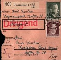 ! 1943 Paketkarte Deutsches Reich, Litzmannstadt Nach Torgau, Landpoststempel Kieber? - Alemania