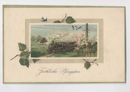 Train Locomotive à Vapeur - 1914 - Hirondelles Sur Le Fil Electrique - Joyeuse  Pentecôte - Fröhliche Pfingsten - Trains