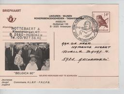 JS726/ Entier CP 197 IV N Oiseau Buzin Repiquage 'Belgica 90' Roi Baudouin C.K.K.Postzegelkring 2/12/90 Antwerpen - Cartes Postales [1951-..]