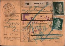 ! 1943 Paketkarte Deutsches Reich, Leipzig , Zurück Stempel - Deutschland