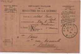 MILITARIA-IRépublique Française-Ministère De La Guerre-Correspondance Militaire - - War 1914-18