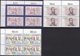 BRD, 1994, Nr. 1709, 1710, 1711 ** 3 Viererblöcke Mit Oberem Eckrand - Nuovi