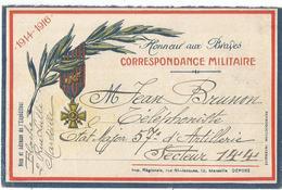 CARTE FM HONNEURS AUX BRAVES IMPR REGIONALE MARSEILLE 1917 POUR SECTEUR 144 - Lettere In Franchigia Militare