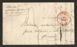 Belgique - LAC De Liège à Rochefort Du 08/06/1842 + Cachets Marche En Rouge Et Rochefort En Noir Au Verso - 1830-1849 (Belgique Indépendante)