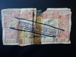 CAMEROUN : 500 FRANCS   ND  Série C   P 15b   NON ÉCHANGEABLE   Qualité AB * - Camerún