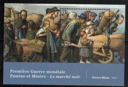 LUXEMBOURG, 2018, MNH, WWI, FAMINE , MISERY, CIVILIAN POPULATION, PAINTINGS, S/SHEET - WW1