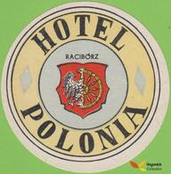 Voyo HOTEL POLONIA Raciborz Poland Hotel Label 1970s Vintage - Etiquetas De Hotel
