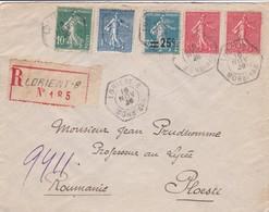 Env Recommandé ( Tarif 3f ) Semeuses Ob Cad Lorient B 16 Nov 26 Pour Ploesti Roumanie - Postmark Collection (Covers)