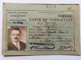 Carte Du Combattant 1930 - Cartes