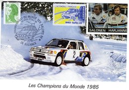 Peugeot 205 T16  -  Champion Du Monde 1985  -  Pilotes: Salonen/Harjanne  -  Carte Postale - Rally Racing
