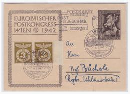 Dt.- Reich (001164) Ganzsache P294, Sonderpostkarte Europäischer Postkongress Wien 1942, Gelaufen Regenburg Am 3.7.1943 - Deutschland