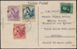 ESPAGNE GUERRE CIVILE NATION Poste  - Motril Ed. 3 + 10 + 15, Sur Cp. 28/3/38: Madone - Vignettes De La Guerre Civile
