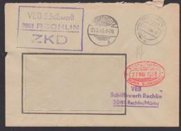 Germany RECHLIN Müritz ZKD-Brief Schiffswerft Gitterstempel Neustrelitz Nach Schkopau Chem. Werke - [6] República Democrática