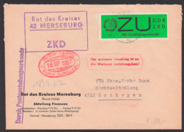 """Germany MERSEBURG ZKD-Brief Zustellungsurkunde E2y, Roter Vermerk """"Der Entleerte Umschlag..."""" Schkopau Chem. Werke - DDR"""