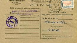 Carte De Ravitaillement, Mairie De PAIMBOEUF (Loire Inférieure) - Cachet à Date Du 20 Août 1946 - Marcophilie (Lettres)