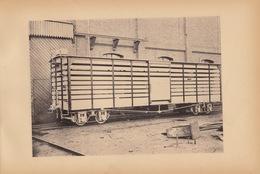 Planche Train Chemins De Fer Wagon à Bestiaux Pour Cdf Du Brésil  Par Baume Et Marpent Haine Saint Pierre - Spoorweg
