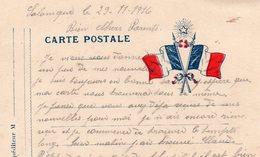 """CP- Militaire- """" Drapeaux """"- - Marcophilie (Lettres)"""