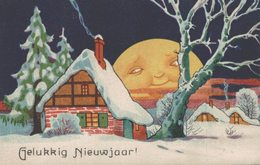 Illustration - Surréalisme - Bonne Année - La Lune Bienveillante - 2 Scans - Nouvel An