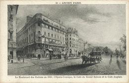 Ancien Paris . Dessin . Café Du Grand Balcon Et Café Anglais. Opera Comique . Bd Des Italiens . 1850 - Cafés