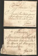 Belgique -  2 LAC De Bruxelles à Gand - 8/12/1740 Et 13/12/1740 - à L'attention De J.B.Grenier échevin Et Banquier - 1714-1794 (Pays-Bas Autrichiens)
