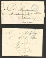 Belgique - 2 LAC De Bruxelles à Marche-en-Famenn De 1841 - Cachet Bruxelles En Bleu - Verso Marche En Rouge - 1830-1849 (Belgique Indépendante)