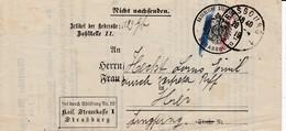 LAC Frei Durch Ablösung Nr 19 / Kais Steuerkasse I / Straßburg Obl STRASBOURG 1 Du 28.4.19 Adressée à Strasbourg - Marcophilie (Lettres)