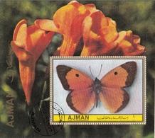 Ajman 1972 Farfalle Butterflies Papillons Fiori Flowers Nuovo Preoblit. Perf. - Ajman