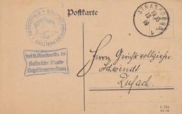 """CP """"Frei Lt Aversum Nr 19 / Kaiserliche Staats / Depositenverwaltung Obl STRASBOURG 1 Du 13.1.19 Adressée à Rufach - Marcophilie (Lettres)"""