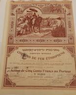 Titre Ancien - Compagnie Impériale Des Chemins De Fer Ethiopiens - Titre De 1899 - Déco - Imprimerie Chaix - - Chemin De Fer & Tramway