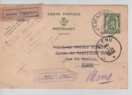 JS731/ Entier CP 112 C.Jemappes 29/6/38 > Flénu Etiq.Bilingues Inconnu-Retour - Postcards [1934-51]
