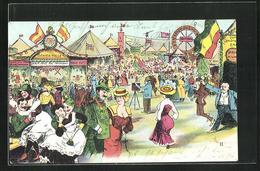 AK Volksfest Mit Besuchern An Der Schiess-Halle - Feiern & Feste