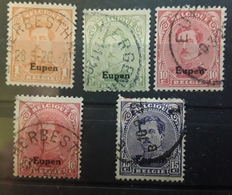 BELGIQUE,  1920 EUPEN, 5 Timbres Obl Diverses,  Yvert No 8, 10, 11 X2 , 12 , TB - [OC55/105] Eupen/Malmédy